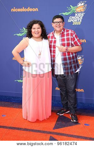 LOS ANGELES - JUL 16:  Raini Rodriguez, Rico Rodriguez at the 2015 Kids' Choice Sports at the UCLA's Pauley Pavilion on July 16, 2015 in Westwood, CA