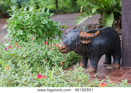 The Pottery Of Buffalo In The Garden For Decoration