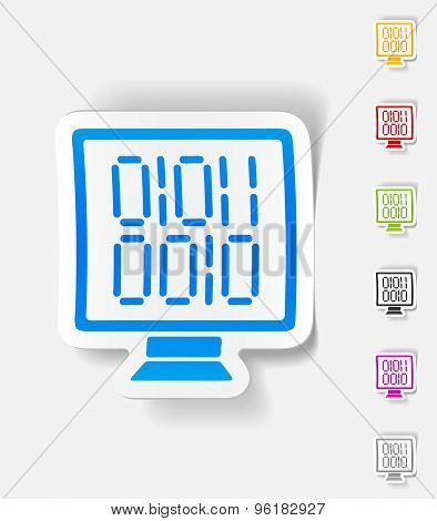 realistic design element. computer screen with binary