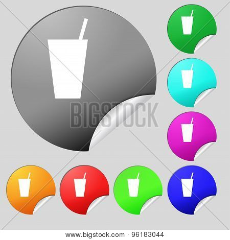 Cocktail Icon Sign. Set Of Eight Multi Colored Round Buttons, Stickers. Vector