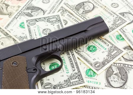 Gun On Money Texture Background.