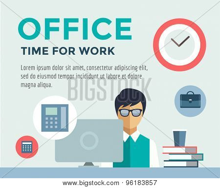 Clerk at Work infographic. Office, Table, Designer and Computer. Vector stock illustration for design