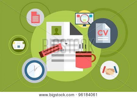 Office tools vector objects for infographic. Document Sheet, Web Elements, Cup of Tea and Computer. Vector stock illustration design