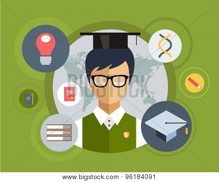 Flat student for school vector illustration. Science objects, or University and College symbols. Stock design elements.