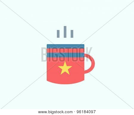 Red Cup vector icon isolated. Tea objects, or drink and food symbol. Stock design element.