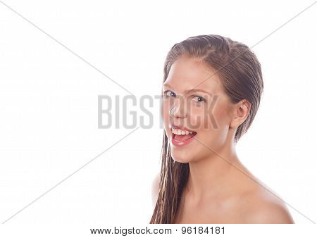 Teen Girl With Makeup Laughing.