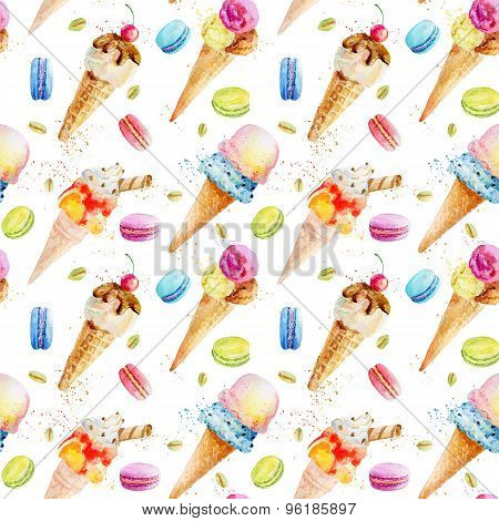 Watercolor Seamless Pattern With Ice Cream And Macaroons.