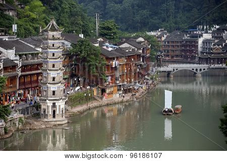 Old Pagoda In Fenghuang Ancient City.
