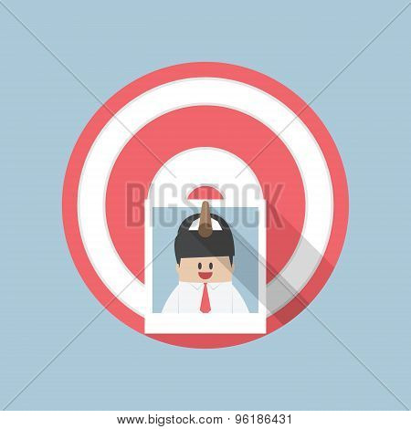 Businessman Picture Stick On Target By Arrow, Recruitment, Hiring Concept