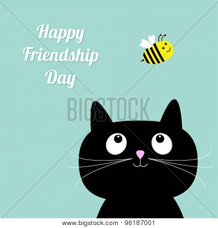 Happy Friendship Day Cute Cartoon Cat. Bee Flat Design Style.