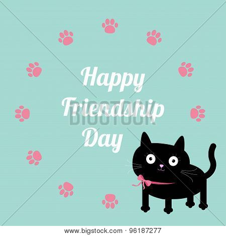 Happy Friendship Day Cat And Paw Print Round Frame Template. Flat Design.