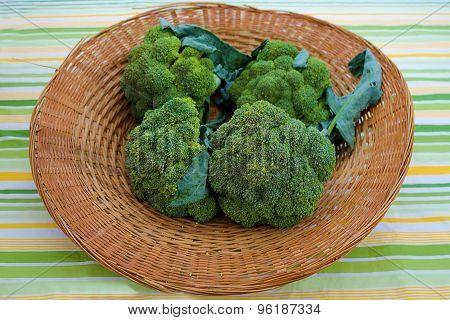 Basket Filled With Broccoli Crowns