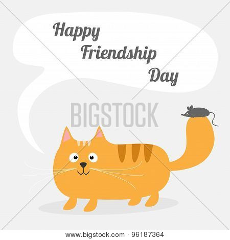 Happy Friendship Day Cute Cartoon Red Cat With Mouse Talk Think Bubble Card. Kids Background Flat De