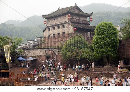 Bastion and the wall of Fenghuang ancient city.