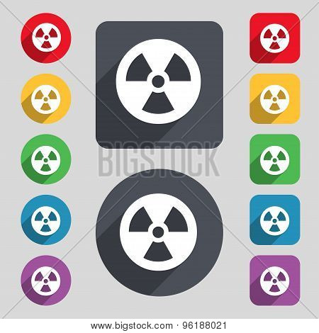 Radiation Icon Sign. A Set Of 12 Colored Buttons And A Long Shadow. Flat Design. Vector