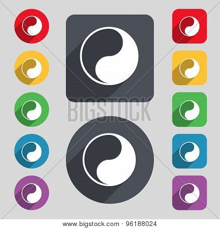 Yin Yang Icon Sign. A Set Of 12 Colored Buttons And A Long Shadow. Flat Design. Vector