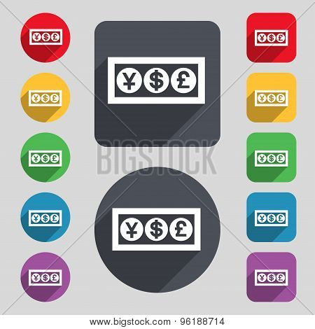 Cash Currency Icon Sign. A Set Of 12 Colored Buttons And A Long Shadow. Flat Design. Vector