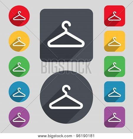 Clothes Hanger Icon Sign. A Set Of 12 Colored Buttons And A Long Shadow. Flat Design. Vector