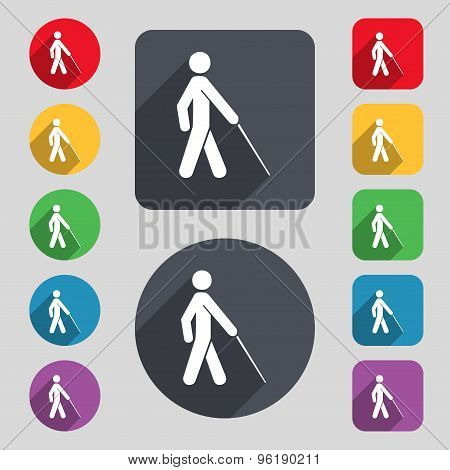 Blind Icon Sign. A Set Of 12 Colored Buttons And A Long Shadow. Flat Design. Vector