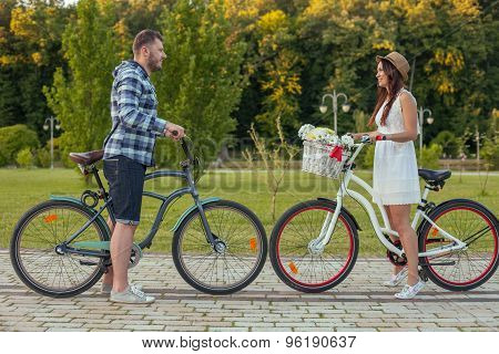 Cheerful young man and woman are in love
