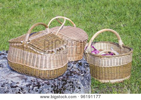 Three Wicker Baskets