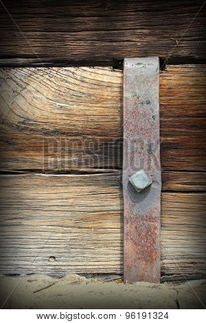 Metal Mount On Old Wooden Beam