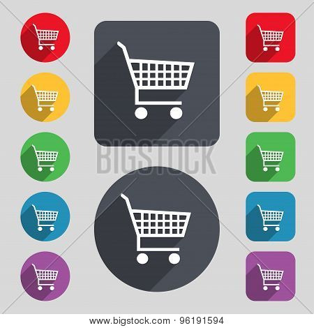 Shopping Cart Icon Sign. A Set Of 12 Colored Buttons And A Long Shadow. Flat Design. Vector