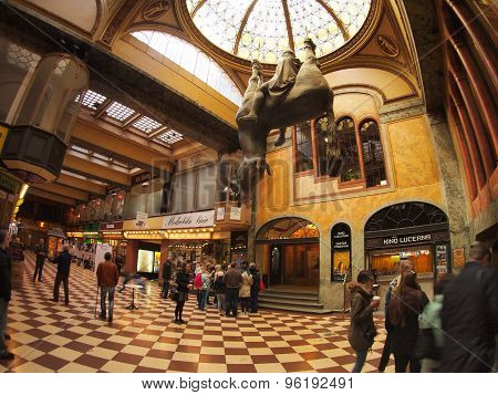 Lucerna Passage - Tourists Looking At The Horse Sculpture