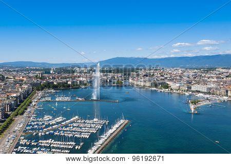 Aerial View Of Leman Lake -  Geneva City In Switzerland
