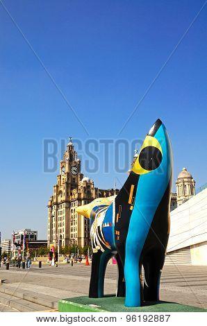 Superlambana and Liver Building, Liverpool.