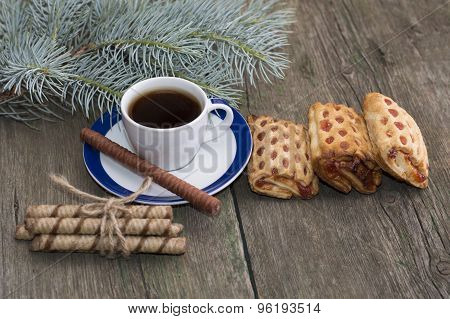 Cup Of Coffee, Cookies And Fir-tree Branch