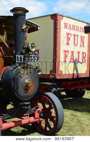 Steam traction engine and trailer.