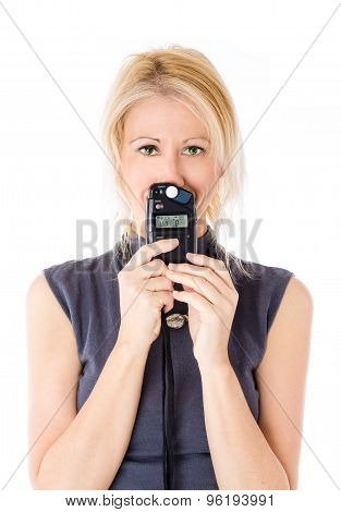 Woman and flash meter