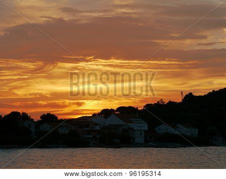 Sunset in Betina on Murter in Croatia