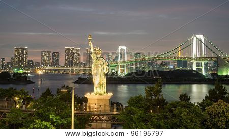 Statue of Liberty and Rainbow bridge in Odaiba, Nightview
