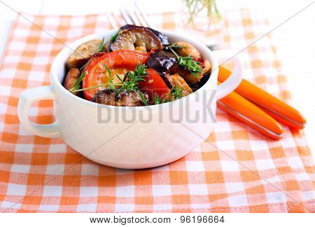 Chicken With Eggplant, Tomato And Rosemary