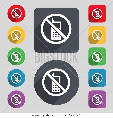 Mobile Phone Is Prohibited Icon Sign. A Set Of 12 Colored Buttons And A Long Shadow. Flat Design. Ve