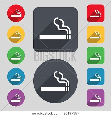 Cigarette Smoke Icon Sign. A Set Of 12 Colored Buttons And A Long Shadow. Flat Design. Vector