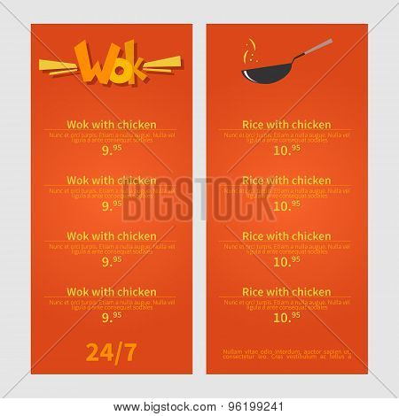 Wok menu. Template menu of  wok restaurant. Flat style illustration