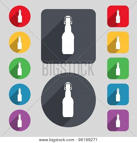 Bottle Icon Sign. A Set Of 12 Colored Buttons And A Long Shadow. Flat Design. Vector