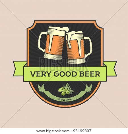 Vintage Vector Illustration, Concept Or Logo Pub, Beer. Two Glasses Of Beer And The Caption