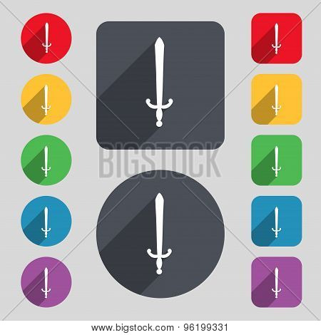 The Sword Icon Sign. A Set Of 12 Colored Buttons And A Long Shadow. Flat Design. Vector