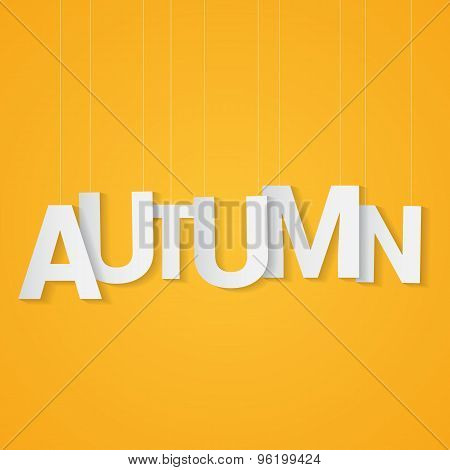 Autumn paper letters, attached to string over yellow background. Can be use at flyer, banner or post