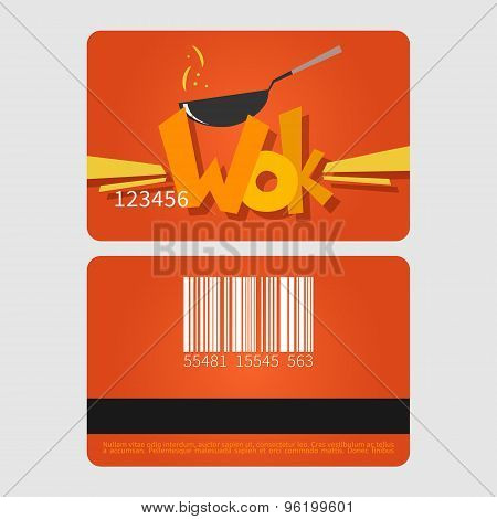 Wok restaurant. Template loyalty card design. Flat style vector illustration.