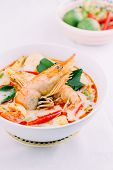 stock photo of thai cuisine  - Tom Yum Kung and condiments  - JPG