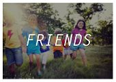 picture of playmate  - Friends Children Kids Playing Playful Outdoors Concept - JPG