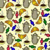 foto of teapot  - Repeating tea pattern with teapot - JPG
