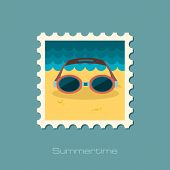 foto of goggles  - Swimming Goggles flat stamp vector illustration eps 10 - JPG