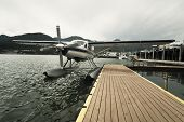 picture of hydroplanes  - Seaplane at dock in Juneau, Alaska, USA