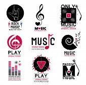 Постер, плакат: Set of retro Collection of music logos and emblems